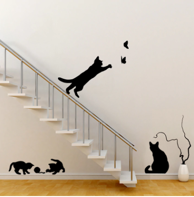 Playful Cats with Butterflies and Yarn Wall Decal | DIY Wall Sticker - BEAN Ultra