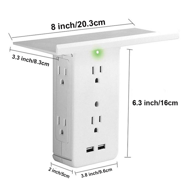 8 Ports Wall Socket Surge Protector | 2 USB Charging Ports | Removable Shelf - BEAN Ultra
