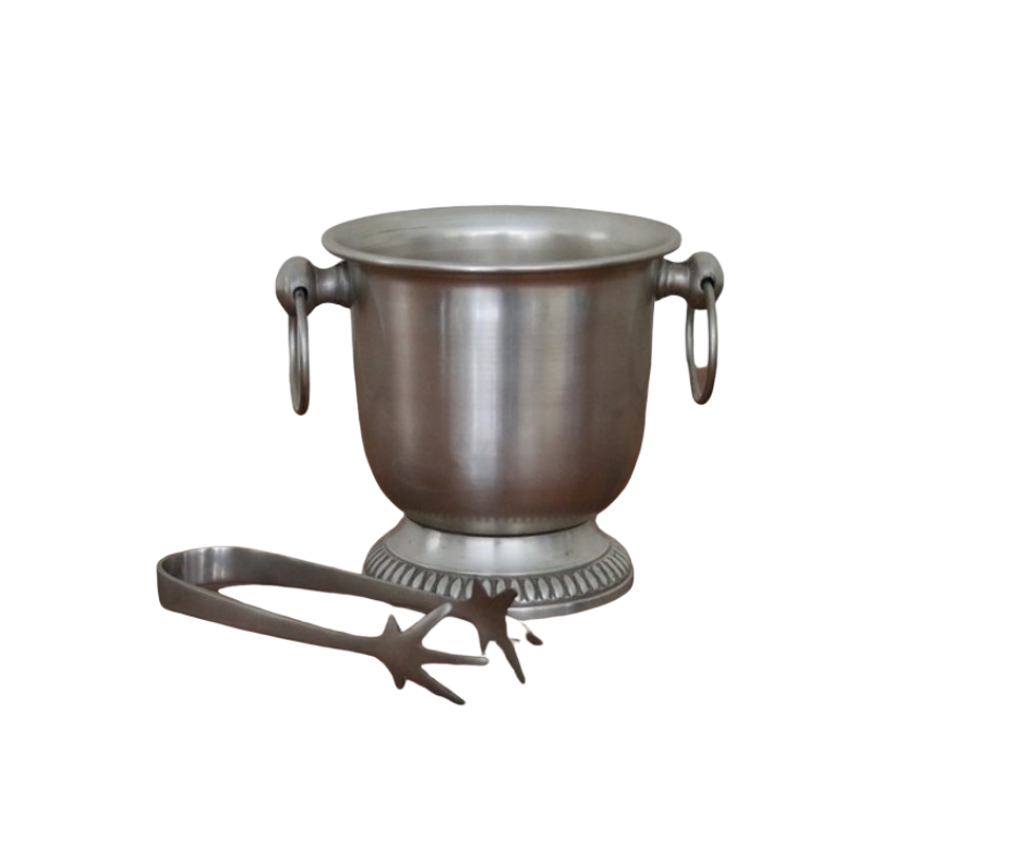 Ice bucket mini with tongs pewter