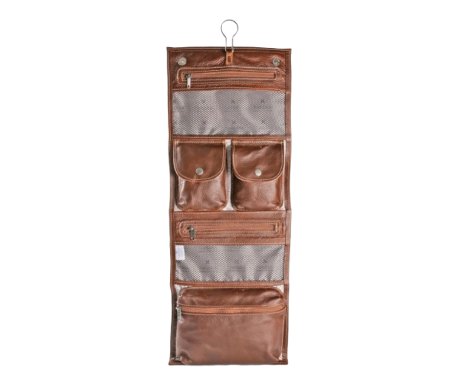 Thandana Roll up toiletry bag in leather