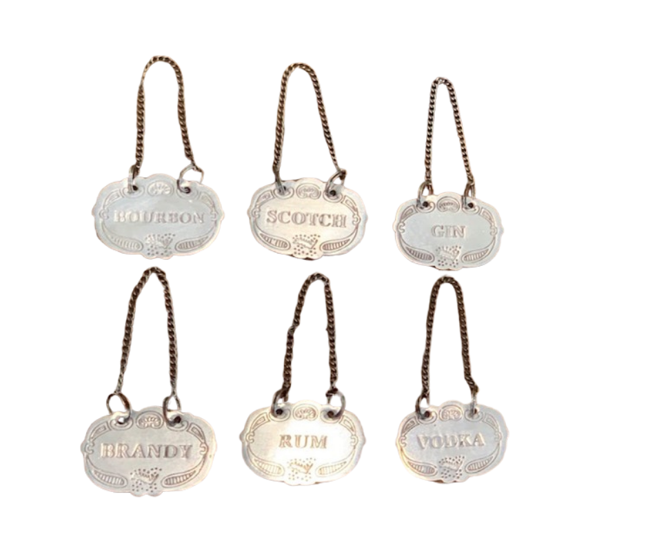 Pewter bottle charms set of 6