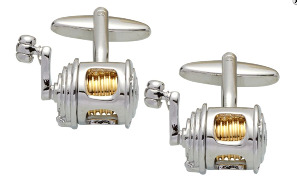Gaventa cufflinks fishing reel novelty