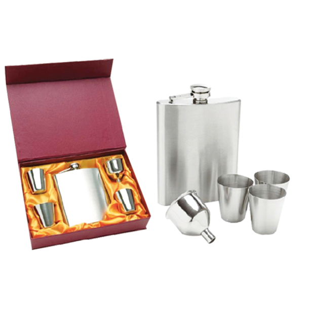 Stainless steel hip flask with 4 cups