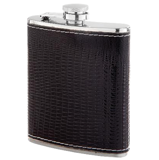 Hip flask with black leatherette