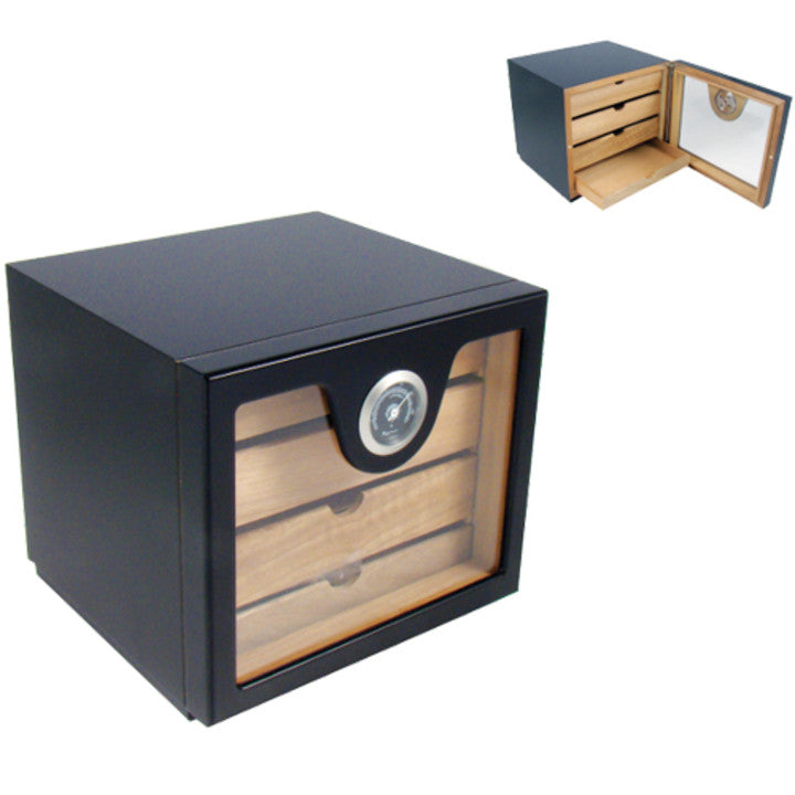 Humidor Black Cabinet 4 Drawers