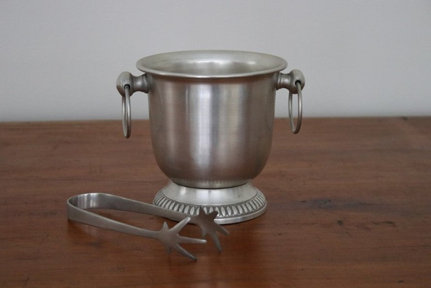 Pewter ice bucket and tongs