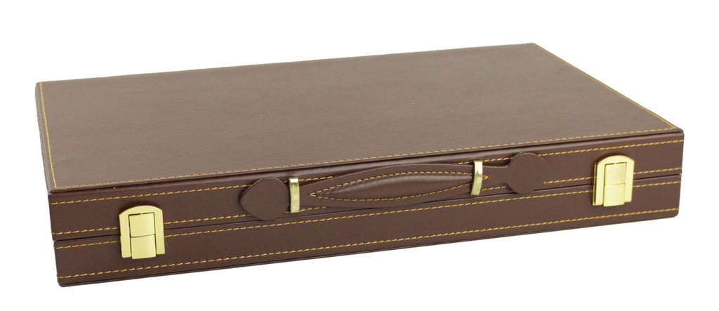 Leatherette Backgammon in brown case