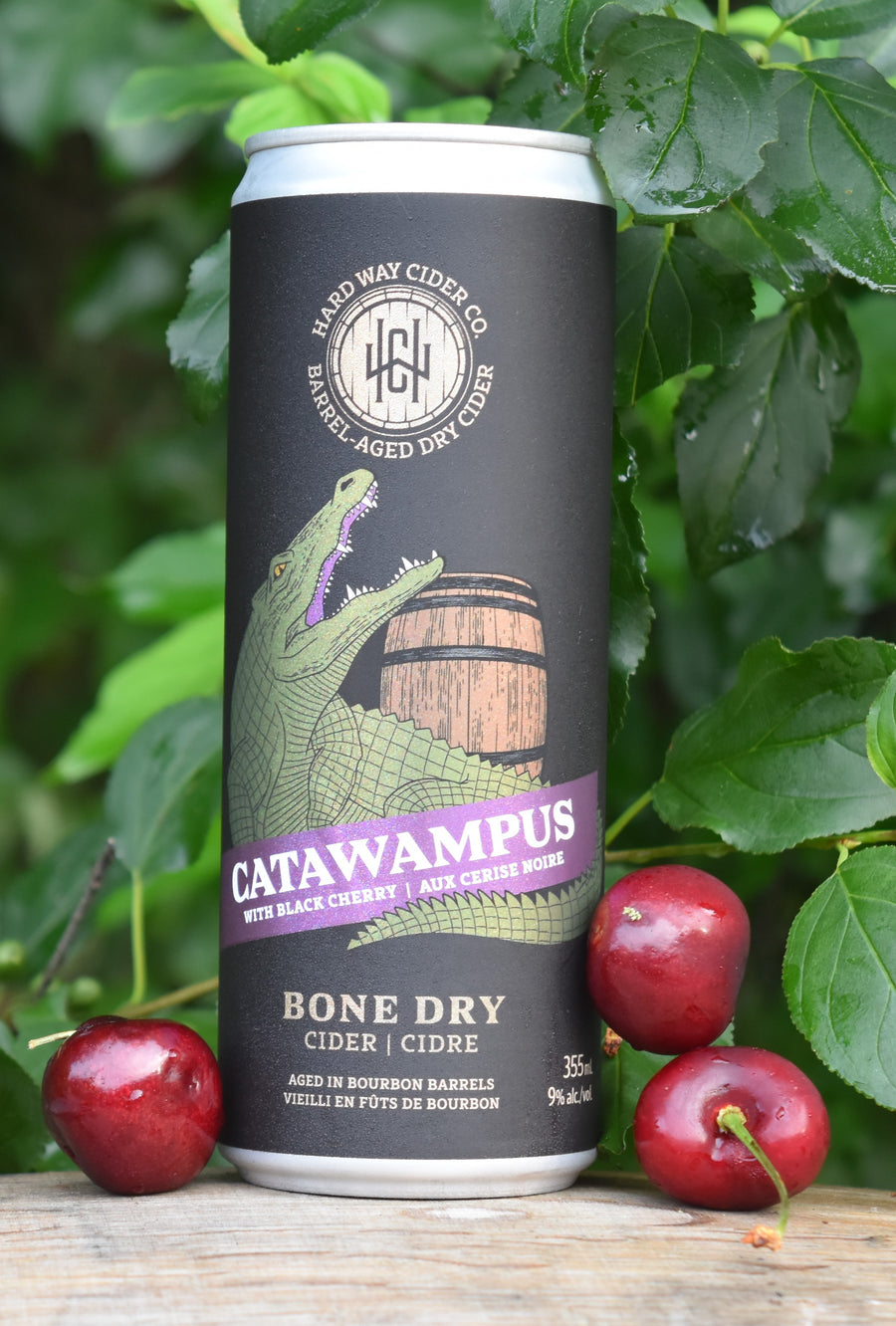 Can of bone-dry hard cider, aged in bourbon barrels with black cherry.