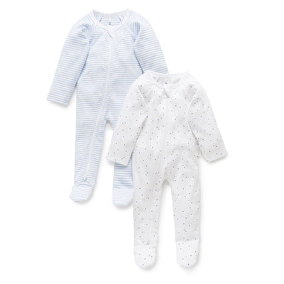 2 Pack Zip Growsuit (Pale Blue)