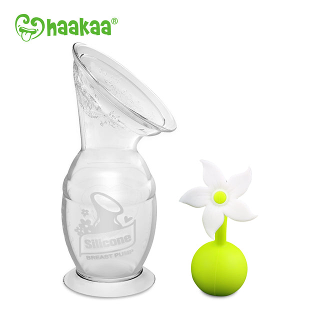 Haakaa - 150ml Breast Pump and White Flower Stopper Pack