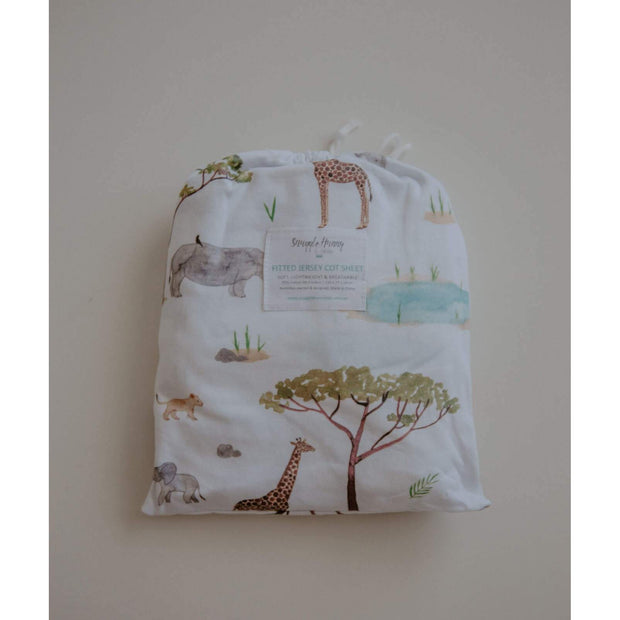 Snuggle Hunny Kids - Fitted Cot Sheet (Safari)