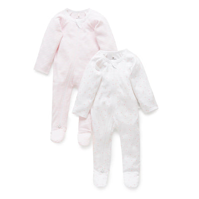 2 Pack Zip Growsuit (Pale Pink Pack)