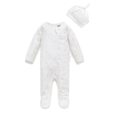 Zip Growsuit and Hat Pack (Pale Grey Leaf and Spot)