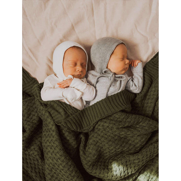Snuggle Hunny Kids - Diamond Knit Baby Blanket (Olive)