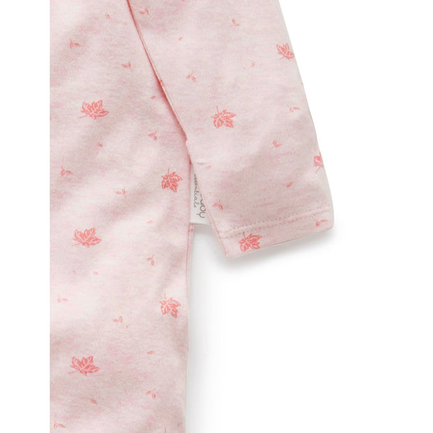 Zip Growsuit (Pale Pink Leaf)
