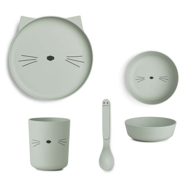 Liewood - Bamboo Tableware Set (Cat Dusty Mint)