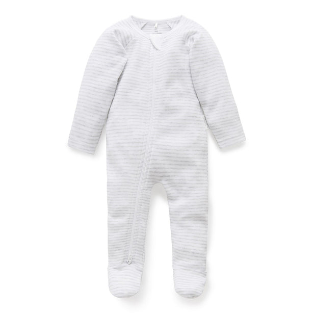Zip Growsuit (Pale Grey Melange Stripe)