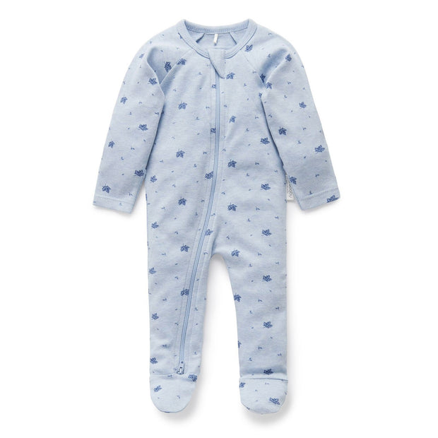 Zip Growsuit (Pale Blue Leaf)