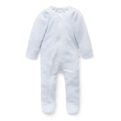 Zip Growsuit (Pale Blue Melange Stripe)