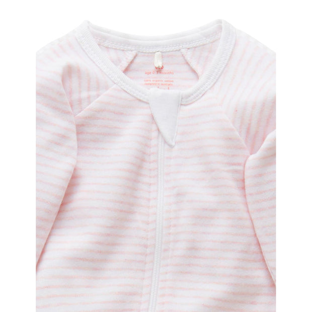 Zip Growsuit (Pale Pink Melange Stripe)