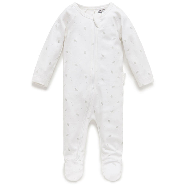 Zip Growsuit (Pale Grey Leaf with Spot)