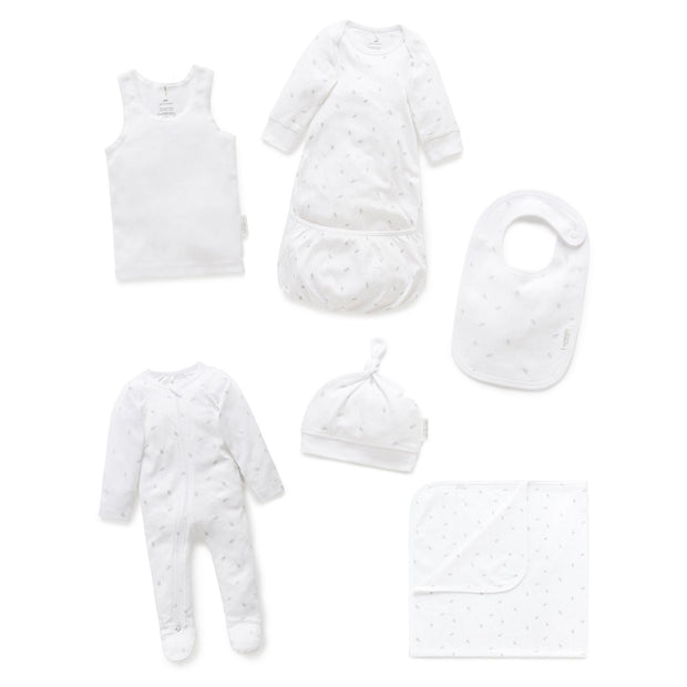 Newborn Hospital Pack (Pale Grey Leaf with Spot)