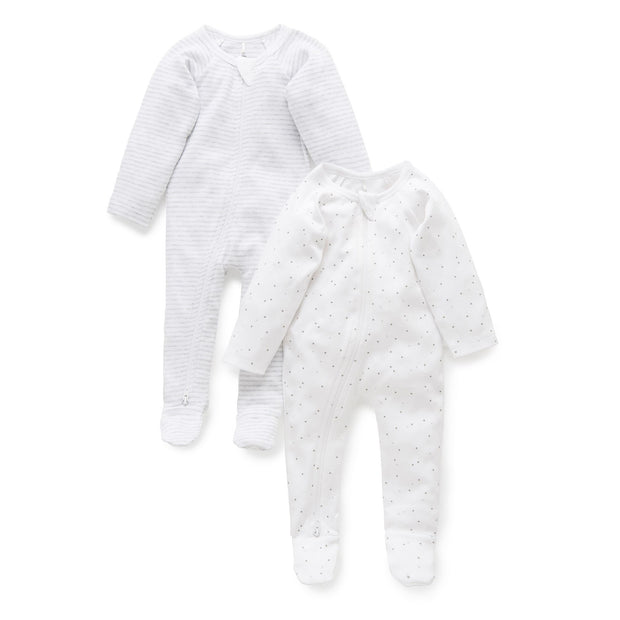 2 Pack Zip Growsuit (Pale Grey Melange)
