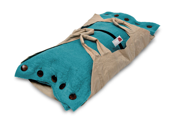 Sweet Goodbye COCOON™ (Premium Wool) - Pet Burial & Cremation Ceremony Kit | TEAL GREEN