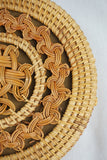 Round hard case rattan bag with pleats