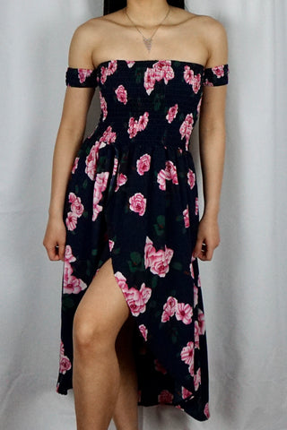 Navy Sabrina Shirred Split Front Floral Dress