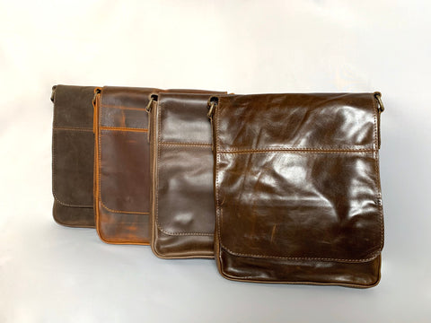 Men's leather satchel in 4 colours
