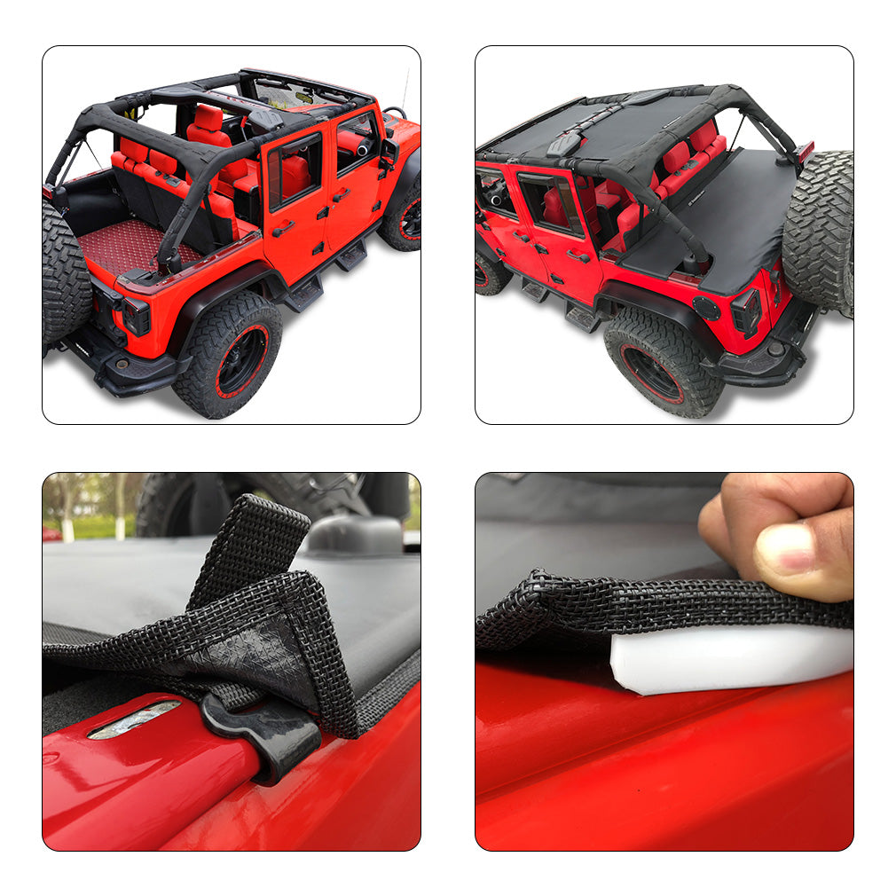Jeep Wrangler Tonneau Cover Jk Unlimited 4 Door Rear Trunk Cover