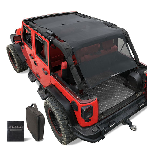Shadeidea Jeep Wrangler Sun Shade JL Unlimited 2 Door and 4 Door Front-Black Mesh Screen Sunshade JLU SAHARA RUBICON SPORT S MOAB Top Cover UV Blocker with Grab Bag-10 Years Warranty