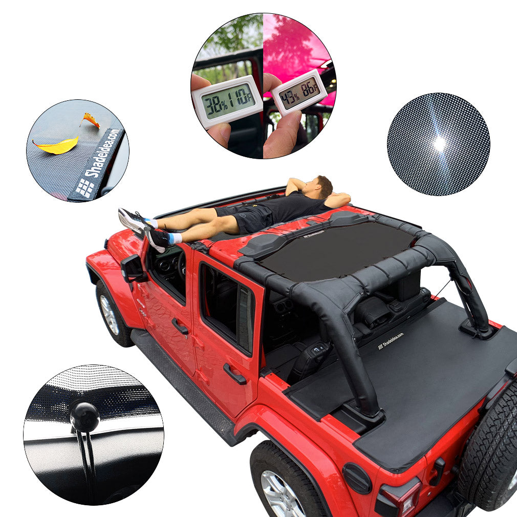 Shadeidea Sun Shade for Jeep Wrangler JL Unlimited 4 Door Front and Rear 2 piece-Gray Mesh Screen Sunshade JLU 2018 2019 2020 Top Cover UV Blocker with Grab Bag-10 years Warranty