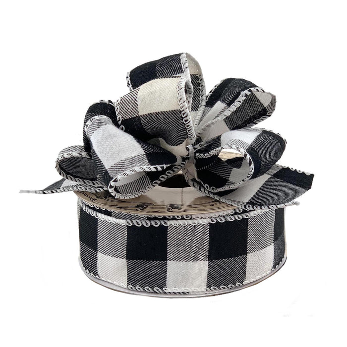 "Black White Buffalo Plaid Ribbon - 1 1/2"" x 10 Yards"