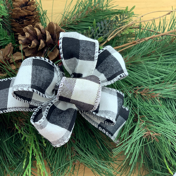 black-white-checker-wreath-ribbon