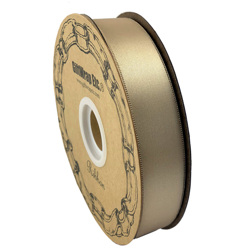 "Beige Satin Fabric Wedding Ribbon - 1"" x 100 Yards"