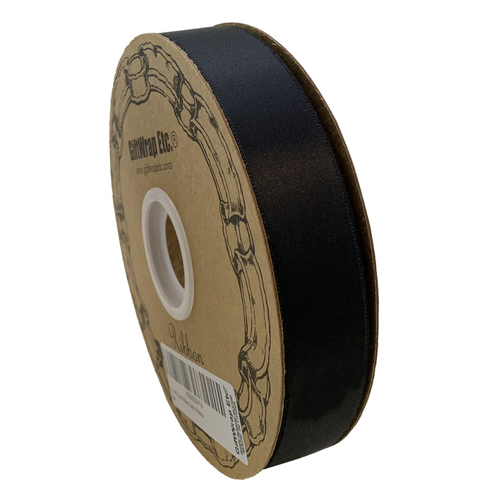 "Black Satin Fabric Halloween Ribbon - 1"" x 100 Yards"
