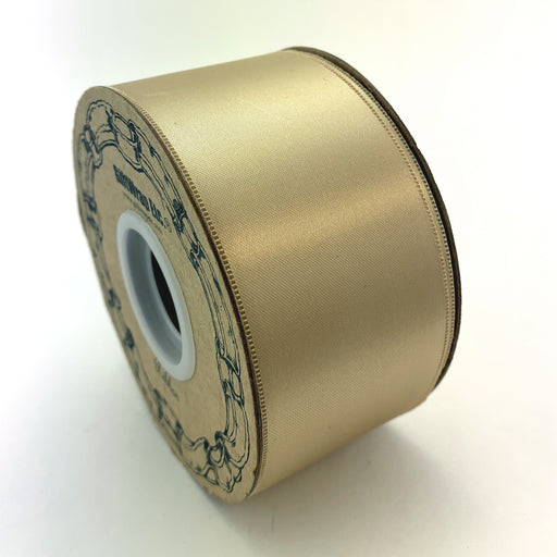 "Beige Satin Fabric Wedding Ribbon - 2"" x 50 Yards"