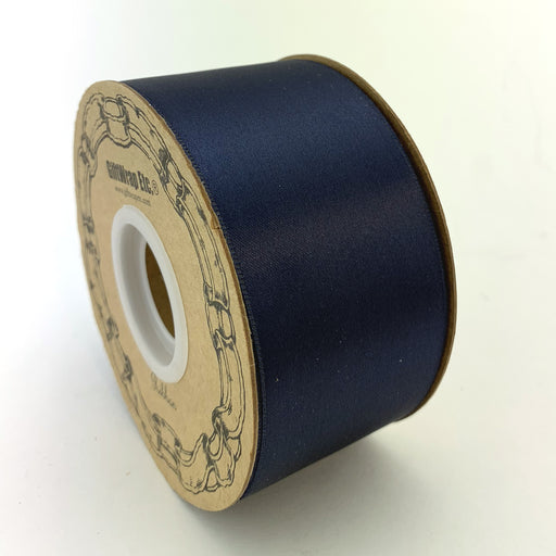 "Navy Blue Satin Fabric Ribbon - 2"" x 50 Yards"