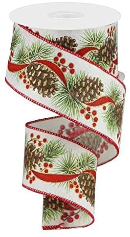 "Fall Decor Wired Christmas Ribbon - 2 1/2"" x 10 Yards"