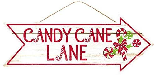 "Candy Cane Lane Christmas Sign - 16"" x 6.5"", Red, Green"