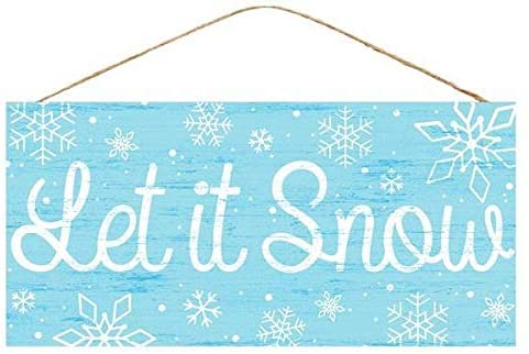 "Let It Snow Wooden Sign - 12.5"" x 6"", Christmas Decoration"