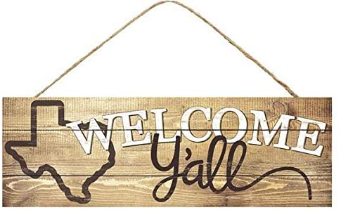 "Texas Welcome Y'all Wooden Sign - 15"" x 5"""
