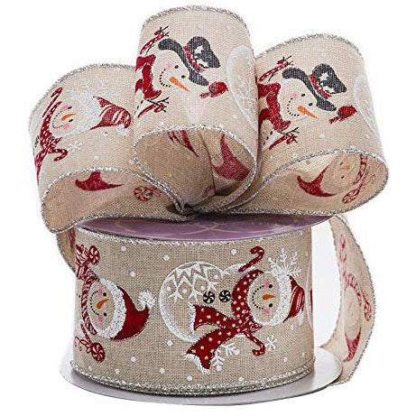 "Christmas Snowman Wired Edge Ribbon - 2 1/2"" x 10 Yards"