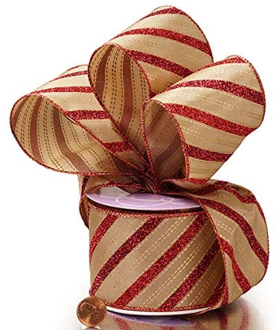 "Red Gold Glitter Striped Christmas Ribbon - 2 1/2"" x 10 Yards"