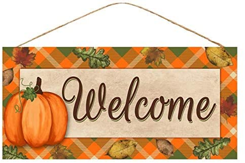 Rustic Pumpkin Fall Welcome Sign - 12.5 x 6""