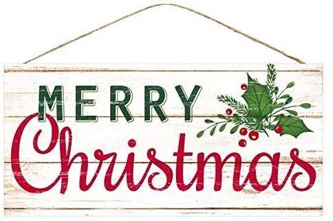 "Merry Christmas Mistletoe Wooden Sign - 12.5"" x 6"""