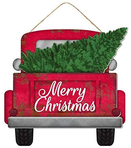 "Merry Christmas Tree Truck Sign - 12.25"" x 11.75"""