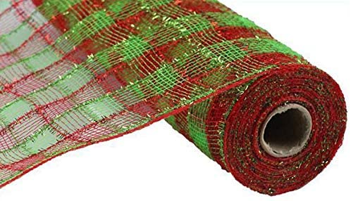 "Plaid Checkered Christmas Deco Mesh - 10 1/2"" x 10 Yards"